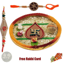 Swastik Rakhi Thali with Free Silver Coin - UK Delivery