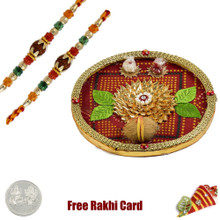 Bandhani Rakhi Thali with Free Silver Coin - UK Delivery