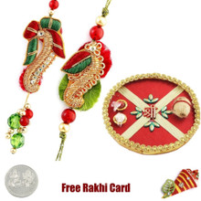 Rakhi Thali with Lumba Rakhi Pair - UK Delivery