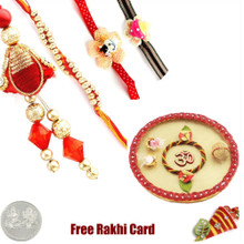 Rakhi Thali with Family Rakhi Set - UK Delivery
