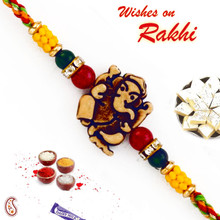 Ganesh Motif Mauli Rakhi with Colorful Beads - PRS1701