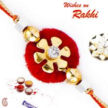 Floral Shape Crystal Stone Mauli Thread Rakhi - PRS1703