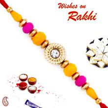 Pink & Yellow Beads Beautiful Rakhi - PRS1704