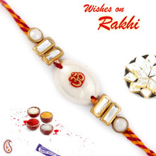 White Oval Base Mauli Rakhi with OM Motif - PRS1705