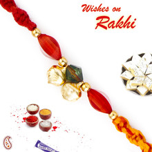 Red Stone & Golden Bead Mauli Thread Rakhi - PRS1707