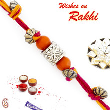 Charming Orange & Golden Beads Mauli Thread Rakhi - PRS1708