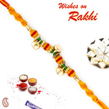 Yellow & Red Mauli Thread Rakhi with Beads - PRS1709