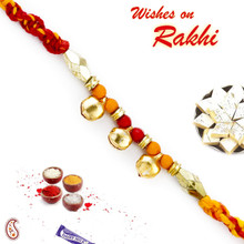 Red & Yellow Mauli Thread Rakhi with Small Golden Bells - PRS1710