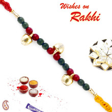 Red & Green Beads Mauli Thread Rakhi - PRS1711