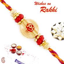 Golden Circular Base OM Mauli Rakhi - PRS1712