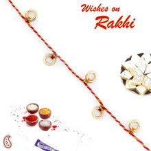 Golden Round Hollow Beads Thread Rakhi - PRS1713