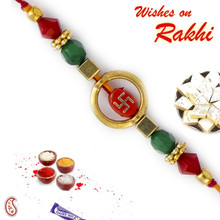Swastik Design Red & Green Beads Mauli Thread Rakhi - PRS1714