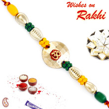 Om & Colorful Beads Mauli Thread Rakhi - PRS1715