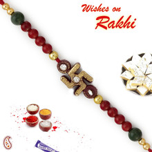 Maroon & Green Beads Mauli Rakhi with Swastik - PRS1717