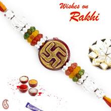 Silver & Golden Swastik Motif Mauli Thread Rakhi - PRS1718