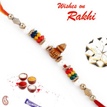 Swastik Kalash and Pearls Mauli Thread Rakhi - PRS1721