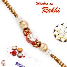 Golden Beads & Crystal Stone Studded Rakhi - PRS1730