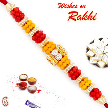 Colorful Beads Red Mauli Thread Rakhi - PRS1735