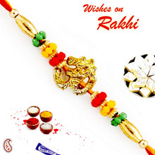 Charming Multicolor Beads Studded OM Rakhi - PRS1750