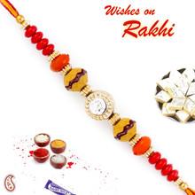 Crystal Stone Studded Multicolor Beads Thread Rakhi - PRS1751