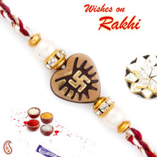 Brown Heart Shape Mauli Rakhi with Swastik Motif - PRS1759