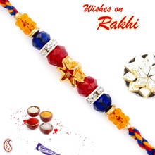 Golden Star & Colorful Crystal Beads Studded Rakhi - PRS1760