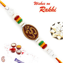 Multicolor Beads Studded Elegant OM Rakhi - PRS1773