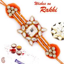 Pretty Orange Kundan Studded Zardosi Rakhi - PRS17101