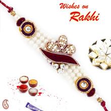Beautiful White Beads Zardosi Rakhi - PRS17102