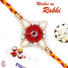 Enticing Zardosi Rakhi with Swastik Motif - PRS17106