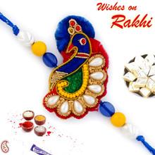 Multicolor Beads Peacock Shape Zardosi Rakhi - PRS17107