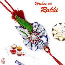 Blue & Green Floral Pattern Rakhi with Crystal Stones - PRS17108