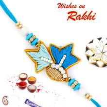 Elegant Blue Shade AD Studded Zardosi Rakhi - PRS17109