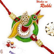 Beautiful Peacock Shape Rakhi with Zardozi work - PRS17110
