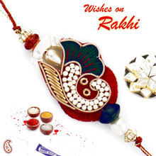 Stunning Green & Red Rakhi with Colorful Beads - PRS17113
