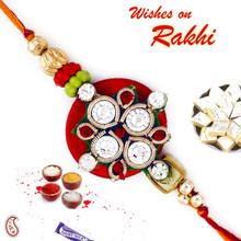 Charming Red Base AD Studded Rakhi - PRS17115