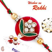 Enticing AD Studded Red Zardosi Rakhi - PRS17116