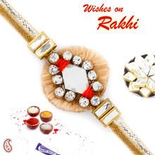 AD Studded Beautiful Zardosi Rakhi with Beige Base - PRS17120