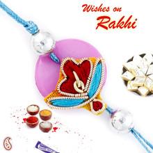 Pink Circular Base Pretty Zardosi Rakhi - PRS17121