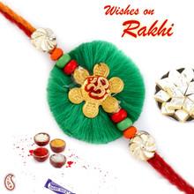 Lovely Green Resham Base OM Rakhi - PRS17122