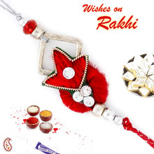 Dashing Red Base Zardosi Rakhi - PRS17124
