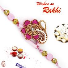 Sweet Pink Floral Zardosi Rakhi with Beads & crystal - PRS17128