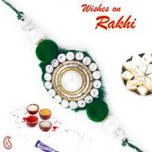 Green & White Crystal Rakhi with Zardozi Work - PRS17132