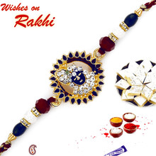 Centrified Krishna Motif Rakhi with Colorful Beads - RJ17204
