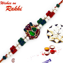 Green & Maroon Crystal Ganesh Rakhi with Colorful Beads - RJ17205