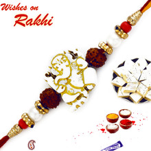 White & Golden Beads Ganesh Motif Rakhi - RJ17207