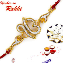 Red & Golden OM Rakhi with Crystals - RJ17208