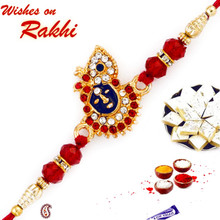 AD & Red Crystal Beads Studded Lord Motif Rakhi - RJ17209