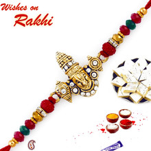 Multicolor Round Beads Studded Lord Motif Rakhi - RJ17210