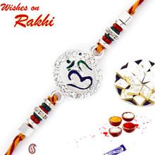 Silver Finish OM Motif Rakhi - RJ17214